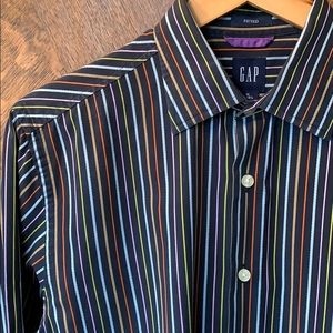 Gap stripe dress casual button down multicolor